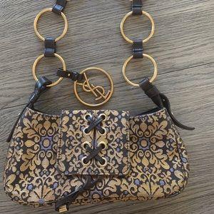 Dior gold tapestry clutch bag